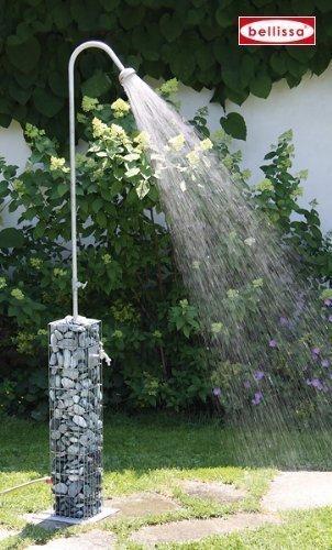 Bellissa Gartendusche Gabione 16x16x220 cm; Bodenplatte 28x28 cm