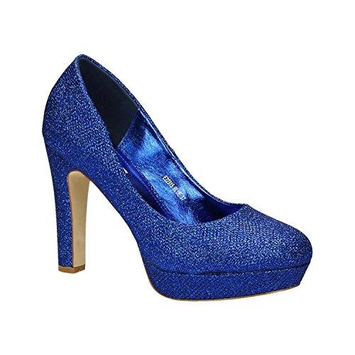 Klassische Damen Glitzer Pumps Stilettos High Heels Plateau Abend Schuhe Bequem 315 (39, Blau)
