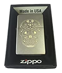 Zippo Custom Lighter - Sugar Skull w/ Flame Eyes Design Satin Chrome