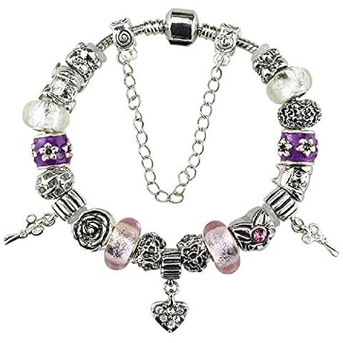 White Birch Murano Coeur Fleurs Charm Bracelet Perles Pour Pandora pour les pour les Femme Filles