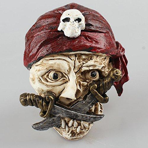 swonvi (TM) Halloween Piraten Totenkopf Aschenbecher Zigarette Zigarre Rauchen Aschenbecher Home Dekoration, eine tolle Valentinstag, Halloween, Weihnachten Geschenk für Ihre Freund und Vater rot (Freund Für Halloween-geschenke)