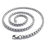 Edelstahl Halskette - SODIAL(R) Schmuck,Edelstahl Panzerkette Halskette, Silber - Breite 2.5mm - Laenge 100cm