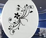 decalcomania coperchio WC, Toilette Rami Di Fiori Adesivi, Bagno Tatuaggio Fiore Gabinetto 3C055 - Nero lucido, 25cm
