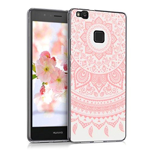 kwmobile Hülle für Huawei P9 Lite - TPU Silikon Backcover Case Handy Schutzhülle - Cover klar Indische Sonne Design Rosa Weiß