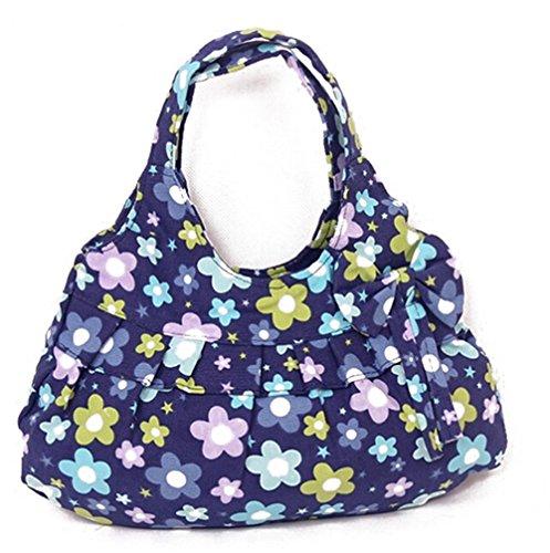 Fortuning's JDS® Nuovi gatti tela stampata con la borsa papillon fiori blu stampa