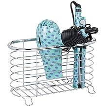 mDesign Soporte para secador de pelo sin taladro – Práctico organizador de baño en cesto de