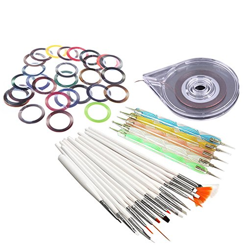 Hrph Nail Art Stickers Rouleau + 20pcs Stylo Peinture Parsèment + 10pcs Striping Ligne Bande Autocollant Outils de Bricolage