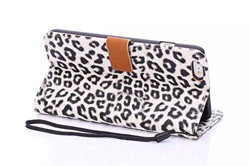 Leopard Print Style Premium Leder Tasche Folio Flip Stand Case mit Card Slots & Lanyard & Magnetverschluss für IPhone 6 & 6s ( Color : Yellow ) Yellow