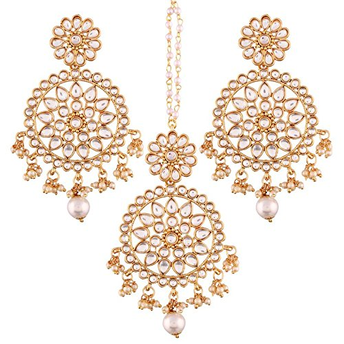 I Jewels Gold Plated Kundan & Pearl Earring Set with Maang Tikka for Women (TE2462W)