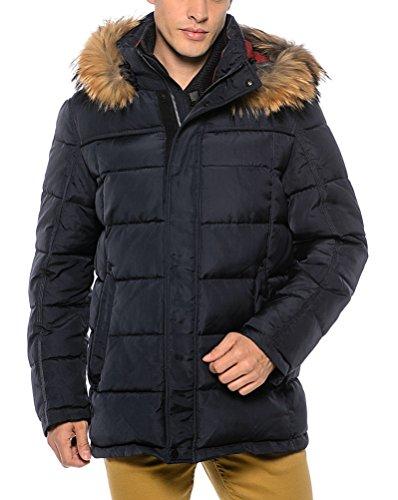 "VH309 Herrenjacke mit Echtfell ""SNOWIMAGE"" abnehmbare Kapuze (82 cm lang) Winter Parka Outdoor realfur mans padded coat Blau"