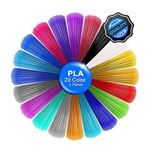 Sinzau - Recarga para lápiz 3D (20 colores, 5 m, filamento de 1,75 mm, lápiz 3D para ODRVM, Uvistare, Sunlu, PLUSINNO, QPAU, Lovebay, Nexgadget y lápiz de impresión 3D dical)