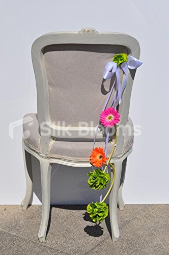 Vivid gerbera arancione e rosa e verde ortensia wedding Pew fine
