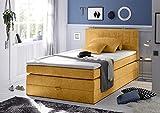 Boxspringbett 140x200 mit Bettkasten, Farbe: Soro safran, gelb, inkl Visco Topper, Matratze: 7-Zonen-Tonnentaschenfederkern Matratze, Bett von Möbel-BOXX