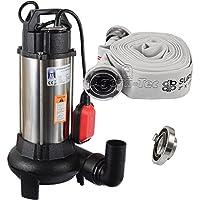 Agora-Tec® AT- Baupumpe-C 1100W (mit Schneidwerk) Tauchpumpe für Schmutzwasser, Abwasser, für Fäkalien und organische Feststoffe mit Schwimmerschalter und max: 0,9 bar und max: 16000l/h inklusive C - STORZ Kupplung und (C-Schlauch: 10 Meter)