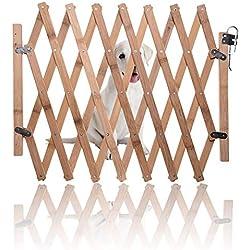 Barrière extensible en bois, barrière mobile et mobile pour barrière pour animaux de compagnie pour animaux de compagnie, porte coulissante pour chien escamotable pour intérieur, porte de garde
