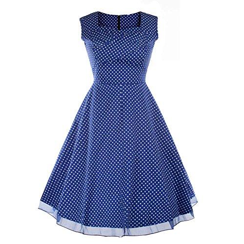 Rétro 1950 de femme Audrey Hepburn robe de soirée cocktail années Rockabilly Swing robe D-bleu