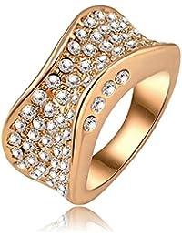 Soxid(TM) de la joyer¨ªa de moda punk-pop de los anillos de compromiso con el oro 18K plateado y cristal austriaco Pave anillo del encanto de la joyer¨ªa Ri-HQ0142