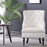 JL Comfurni Vintage Velvet Accent Button Wing Back Occasional Armchair Retro Sofa Chair