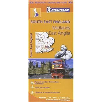 Carte Angleterre Sud-Est, Midlands, Est-Anglie Michelin