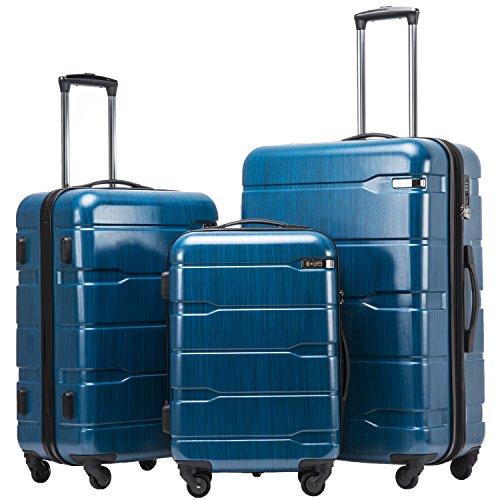 COOLIFE COOLIFE Koffer Reisekoffer Vergrößerbares Gepäck (Nur Großer Koffer Erweiterbar) PC + ABS Material mit TSA-Schloss und 4 Rollen(Caribbean Blue, Koffer-Set)