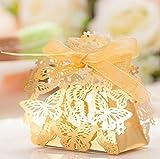 Romantische Schmetterlinge Geschenkschachteln Süßigkeit kasten Chocolate Candy Box Bonbonniere mit DIY Band für Hochzeit Geburtstag party, DIKETE® 50 Stück (golden)