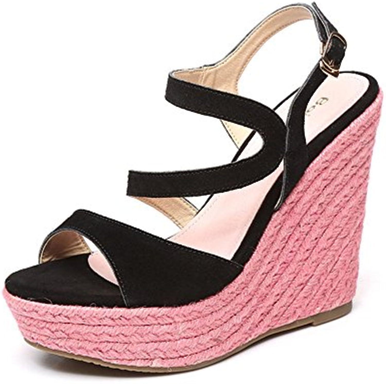 ZHIRONG Sandalias de plataforma impermeable de la cuesta de las mujeres del dedo del pie abierto Colorblock tejidas...