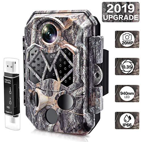 CARMATE Wildkamera 20MP 1080P Jagdkamera mit 20M Infrarot Nachtsicht, 2,4 Zoll LCD Display, 45 Low-Glow 940nm IR LEDs, 120° Weitwinkel, IP66 wasserdichte für Wildlife Jagd, Garten, Haussicherheit