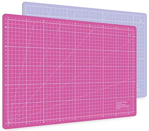 Guss & Mason Selbstheilende Schneidematte A3 in Pink, Blau, Grün. Perfekt zum Nähen, Basteln und Patchworken. 45x30 beidseitig Bedruckt. cm und inch Angabe