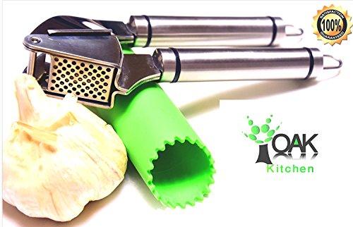 Oak Kitchen Eiche Küche Knoblauch Press Set Leicht zu drückende und Reinigen Beim Spielen Qualität Edelstahl Crusher & Fleischwolf mit erstaunlicher Bonus Knoblauch Schäler & Silikon Pinsel.