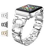 WEKIN Ersatz-Armband für Apple Watch, Edelstahl mit Strasssteinen, für Apple Watch Nike+, Serie 3, Serie 2, Serie 1, Sport, Edition, 38 mm 42 mm, Silver, 38 mm