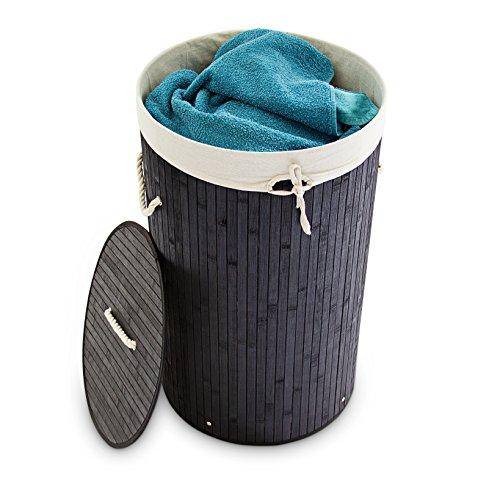 Relaxdays Runder Bambus Wäschekorb