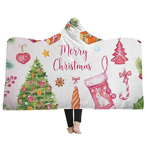 Bedruckte mit Kapuze Decke für Kinder Erwachsene, Weihnachten Winter Dicke warme weiche Plüsch Mantel Cape bequem tragbare werfen Plüsch mit Kapuze Decke (Farbe : Style-2, größe : 51.18X59.06inch) Reversible Winter Mantel
