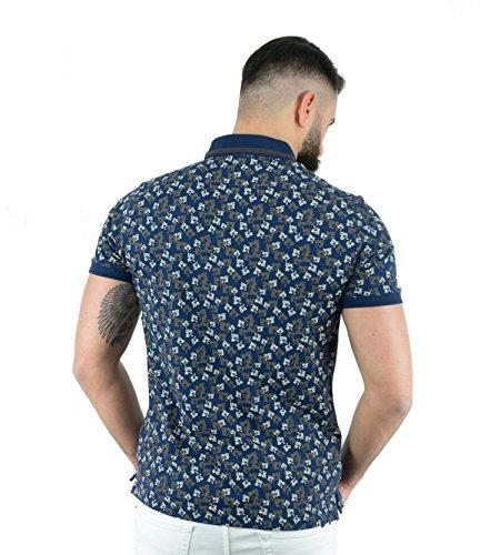 MCR Moda Crise Herren Poloshirt Kurzarm Print in Dunkelblau oder Pink Slim Fit Dark Blue