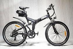 "IVEMA - E-Bike DESIGNBIKE 26"" MOUNTAINBIKE PEDELEC Citybike Elektrofahrrad Fahrrad klappbarer Rahmen - Akku Li-ion 36 V Schwarz Metallic"