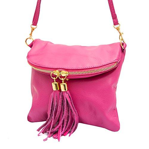 Borse a spalla ,Porchette, Minibag (21/ 17/ 3 cm)in pelle Mod. 2062 by Fashion-Formel Rosa