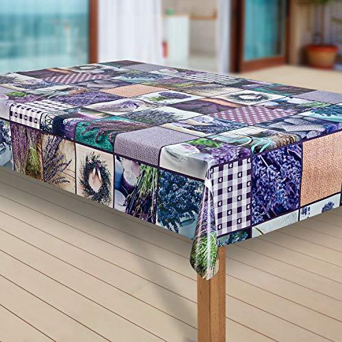 Wachstuch-Tischdecke Abwaschbar Garten-Tischdecke Wachstischdecke PVC Plastik-Tischdecken Eckig Meterware Wasserabweisend Abwischbar |42|, Muster:Lavendel lila, Größe:100x120 cm