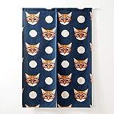 SHUNSHUNML Japanische Tür Vorhang Katze Mit Brille Gedruckt Kurze Vorhänge Für Wohnzimmer Kreative Küchentür Vorhänge Dekoration 85X120 cm