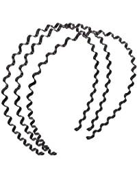 Women Wavy Design Black Metal Hair Hoop Headband Ornament 3 Pcs