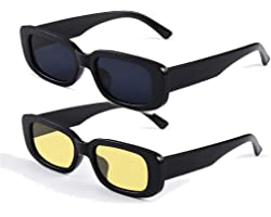 Long Keeper Occhiali da Sole Rettangolari Vintage Donna Aesthetic Retrò Occhiali Quadrati UV400 Protezione per Donna Uomo Rag