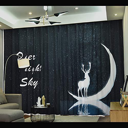 CurDecor Gedruckt Aus Stoff Vorhänge, Halb Blackout Fenster Vorhang Mit Ringe Vorhänge Nordische Land Stil Panel Für Wohnzimmer Schlafzimmer-D 350x270cm(138x106inch) -