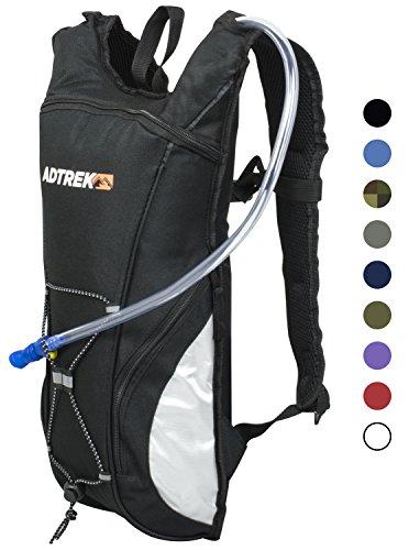Adtrek - Trinkrucksack mit Wasserblase - Ideal zum Laufen/Radfahren - 2 Liter Schwarz