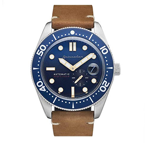 SPINNAKER Men's Croft 43mm Tan Leather Band Steel Case Automatic Blue Dial Analog Watch SP-5058-08
