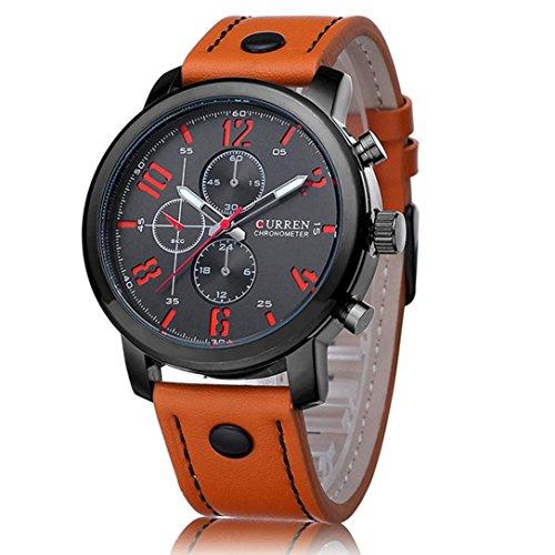 Fulltime(TM) Hommes Mode Montres de Sport - Boîtier en Acier Inoxydable - Montres à Quartz Analogique Bracelet Orange en PU Cuir