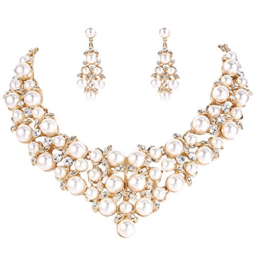 Clearine Damen Hochzeit Braut Kristall Cream Künstliche Perlen Cluster Statement Halskette Dangle Ohrringe Schmuck Set Klar Gold-Ton -