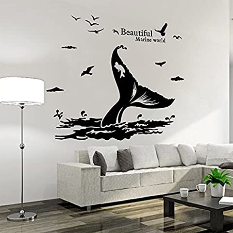 iwallsticker Wall Stickers Removable DIY Creative Whale Tail Wall Decals Murals for Bathroom Kids Room Bedroom Living Room Decor Black 58x138cm