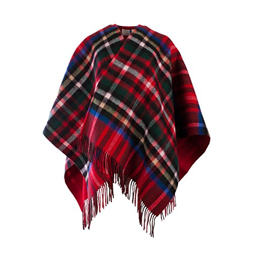 Edinburgh Lambswool - Poncho -  donna Exploded Stewart Royal/Cardinal