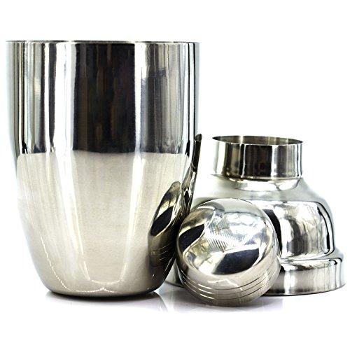 Professioneller Cocktail-Shaker aus Edelstahl, mit Filter, mattgrau, Durchmesser 16 x 7,5 cm.