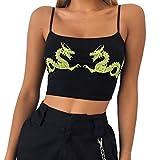 TWIFER Damen Tank Tops Mode Camisole Baumwolle Mädchen Ärmelosen Sommer T-Shirt Bluse Kurz Oberteile(M/34,Schwarz-3)