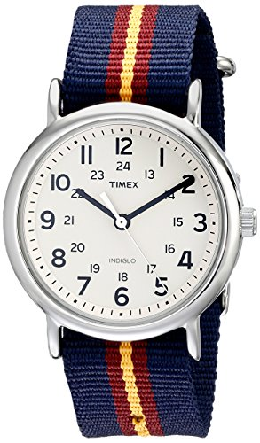 Timex Unisex T2P2349J Weekender Watch with Blue and Maroon Striped Nylon Band  available at amazon for Rs.6171