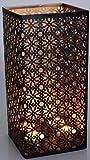 Guru-Shop Eckige Metall Windlicht Leuchte, Passend für Teelicht Kerzen Oder als Deckenlampe Verwendbar, Braun, Größe: 30 cm, Teelichthalter & Kerzenhalter